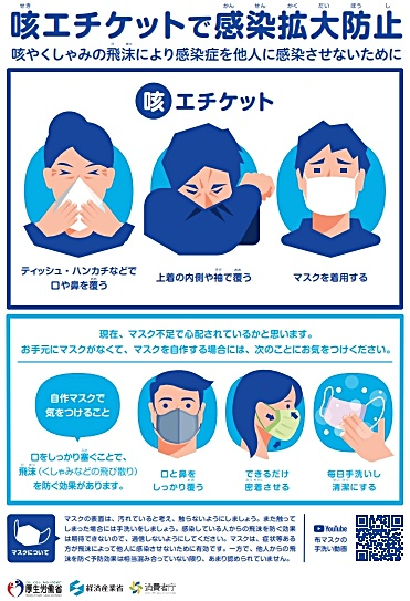 咳エチケットで感染拡大防止